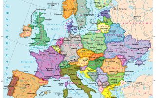 Пустая карта Европы с границами государств, западные европейские страны